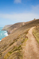 Coast Path Cornwall England UK tin mine