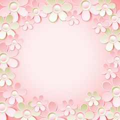 pink  background with many flowers,  vector