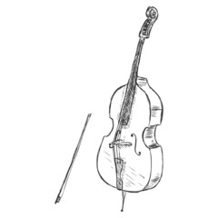 Vector Sketch ?ontrabass with Fiddle-bow