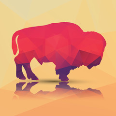 Geometric polygonal buffalo, pattern design, vector illustration