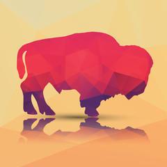 Geometric polygonal buffalo, pattern design, vector illustration