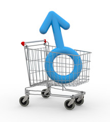shopping cart with male symbol inside