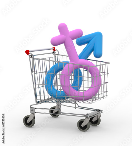 shopping cart with sexual symbols inside