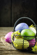 Easter decorative eggs in basket