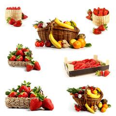 Collage di frutta e fragole