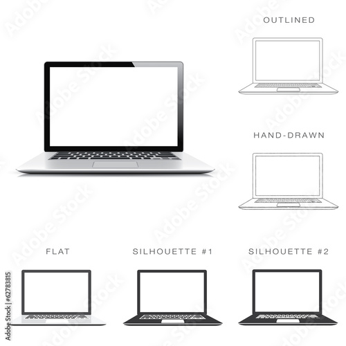 Designers set of six illustrations of modern laptop vector
