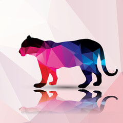 Geometric polygonal leopard, pattern design, vector