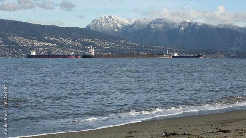 English Bay Freighters and Mountains, Vancouver