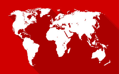 World map with long shadow on red background