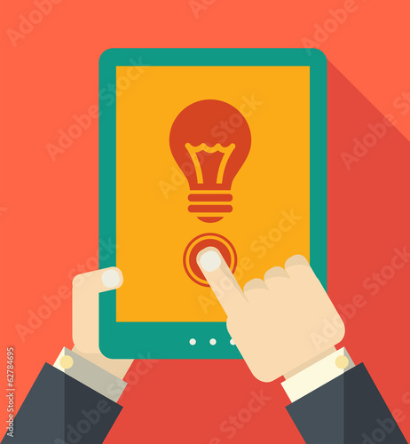 Flat Tablet User with Shadow. Vector Illustration EPS 10.