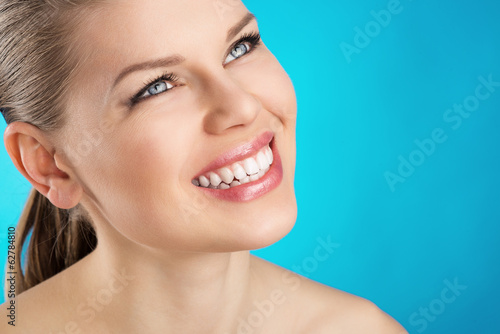 Teeth cure and whitening. Beauty woman with healthy smile