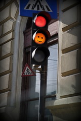 Traffic light yellow with a smiley face