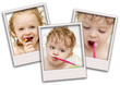 Collage of three photos of toddler with toothbrush.