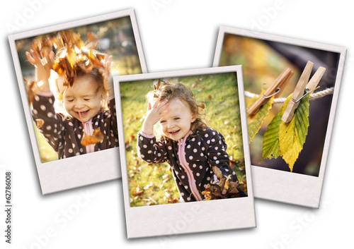 Autumn collage with happy child