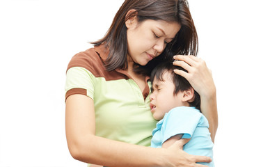 Mother holding son in arm kid painful