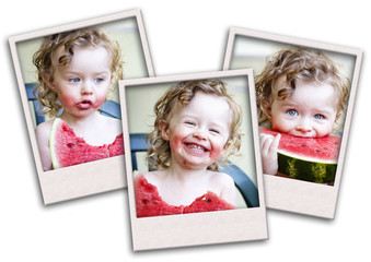 Collage of happy toddler eating melon in summertime