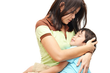 Mother holding son in arm kid happy face