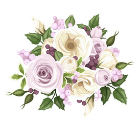 Bouquet of roses and lisianthus flowers. Vector illustration.