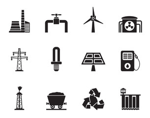 Silhouette Power and electricity industry icons
