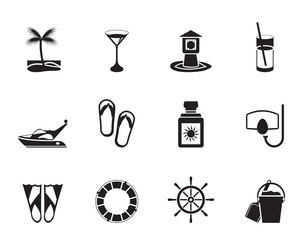 Silhouette Sea, marine and holiday icons