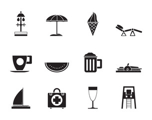 Silhouette beach and holiday icons - vector icon set