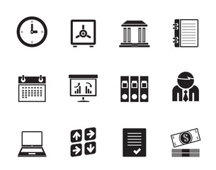 Silhouette Business, finance and office icons