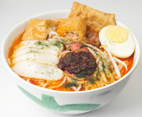 Curry Laksa which is a popular traditional spicy noodle soup fro