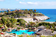 View on beach and swimming pool at the luxury hotel, Tenerife is