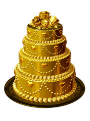 wedding cake in gold