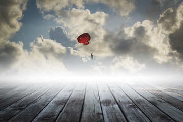 parachute on the sky, success concept