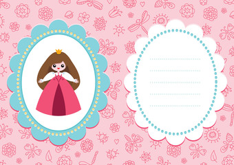 Pink baby card with cute little princess