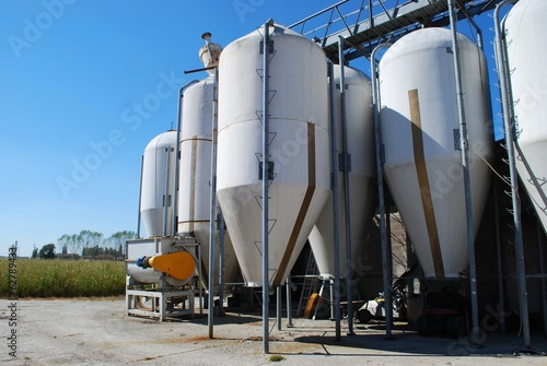 Group of small silos for storing grain in a farm
