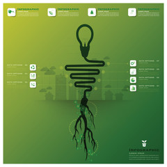 Light Bulb Tree And Root Infographic Science Background