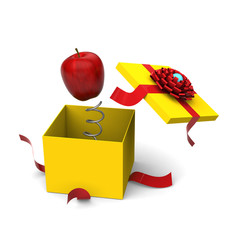 3D model of red apple springing out from a yellow gift box