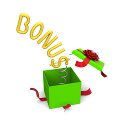 3D of bonus symbol springing out from a green gift box