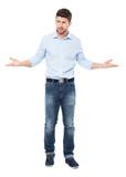 Man making helpless gesture poster