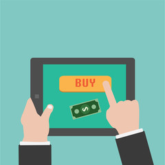Vector Buying online with tablet