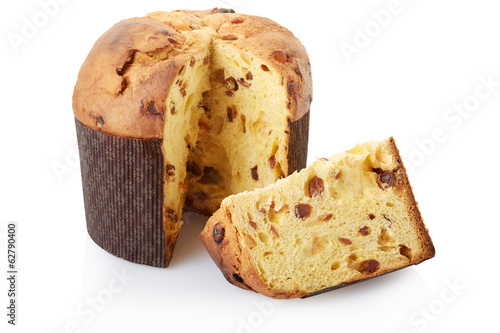 Panettone, Christmas cake on white, clipping path