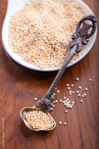 Raw Quinoa on Wood