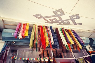 Indian scarves sold as souvenir in Leh