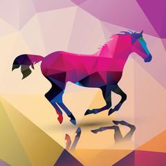Geometric polygonal horse, pattern design, vector