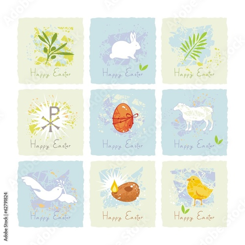 Small cards or stickers set with Easter symbols