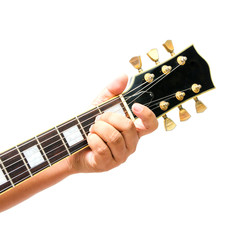 Isolated The guitarist show the A Major chord