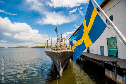 Flag os Sweden blowing in breeze.