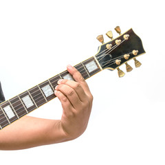 The guitarist show the B Major chord