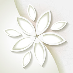 Minimalistic background with white origami flower. Eps10