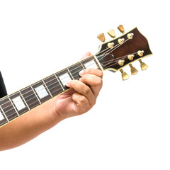 The guitarist show the D Major chord