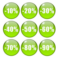Glossy green percentage buttons