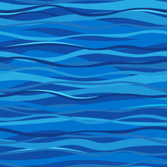 Blue seamless pattern with waves. Marine waves background