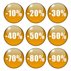 Glossy orange percentage buttons